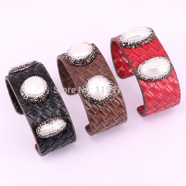 5Pcs Fashion Snake Leather Women Bangles Pave Crystal Natural Fresh Water Pearl Shell Cuff Bracelets