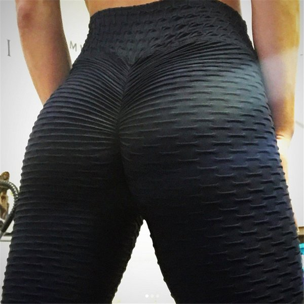 2018 Nuevas arrugas en la parte inferior Push Up Leggings Mujeres Fitness Slim Jeggings Alta elástico en la capucha Dry Dry Sporting Pants