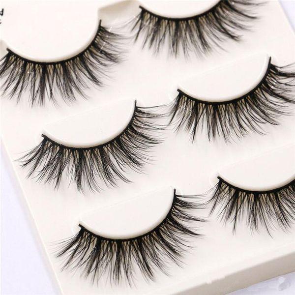Natural Handmade Black False Eyelashes Fashion Makeup Fake Eyelashes Cross Messy Soft 3D Eye Lashes 3pairs/set dropshipping by epacket