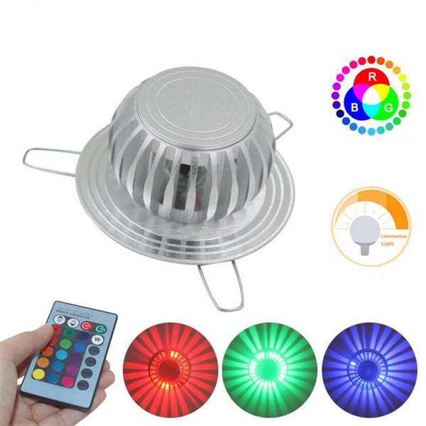 3 Вт светодиодные настенные светильники AC85-265V RGB с дистанционным управлением алюминиевый скрытый настенный светильник home decor light wall art для KTV Party Bar освещение