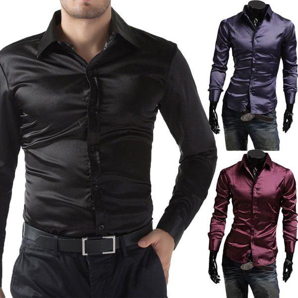 Moda Seda-Like Camisa Homens 2018 Cetim Suave Homens Camisa Sólida de Manga Longa de Negócios Casual Slim Fit Camisas de Vestido de Casamento roupas