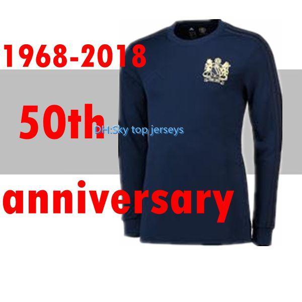 2019 Manchester Herren Sonderausgabe Mann vereint Soccer Jersey United 50-jähriges Jubiläum LONGS SLEEVE 2018 Fußball-Trikot-Hemd