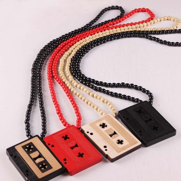 Wholesales 4 Colors Magnetic Tape Shaped Wood Beads Pendant Hip Hop Jewelry Designer Jewelry Sliver Choker Beads Mens Necklace Mens Chain