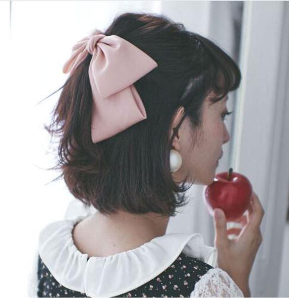 Quality Rayon Big Beautiful Girls Silk Bow Barrette Sweet Hair Clips Women Hair Accessories Fashion 6 colors