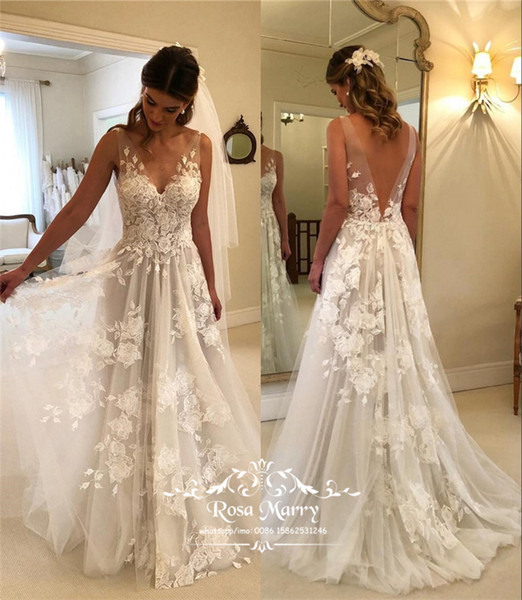 Plus Size Country Beach Cheap Wedding Dresses 2020 A Line V Neck Vintage Lace Backless Greek Style Italy Bohemian Boho Bridal Gowns