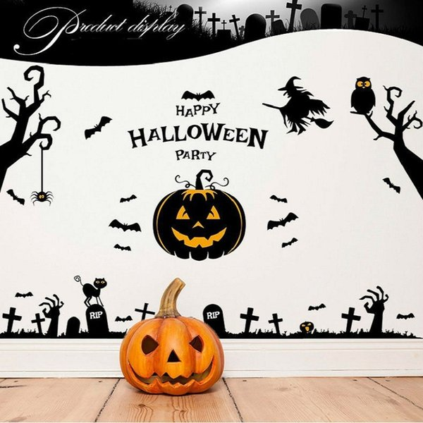 Happy Halloween Party Wall Decals Tree Ghost pumpkin Stickers PVC Removeble Wall Stickers Nursery Decor Halloween Decoration