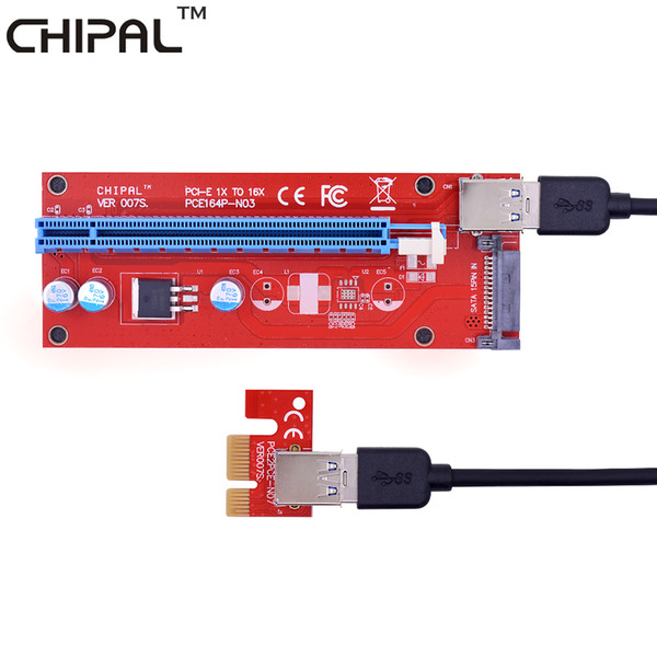 CHIPAL Red VER007S 60CM PCI-E 1X to 16X Riser Card PCIe Extender + USB 3.0 Cable / 15Pin SATA Molex Power for BTC LTC Miner