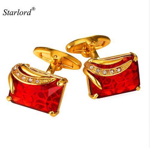 Red Cufflinks Cuff Buttons For MenWomen High Quality Gold Color Metal Wedding Shirt Cuff Links C2008
