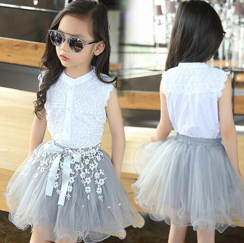 Hot Sale! Girls Clothing Sets Summer Lace Fashion Style Baby Clothes For Girls T-Shirt + Skirts 2Pcs Kids Flower Cupcake Cute Skirt