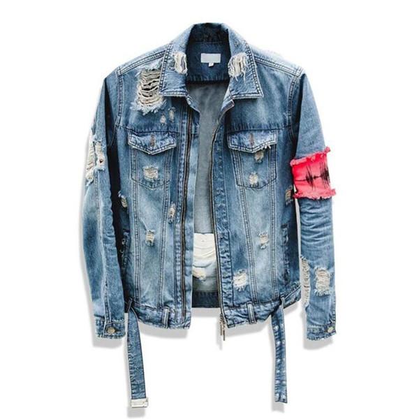2018 New Men Hip-Hop forum Wearing patchwork Denim jacket coat Men jacket Man Man Hip Hop Tape Hole loose Coat The Beggar Damage D18100805