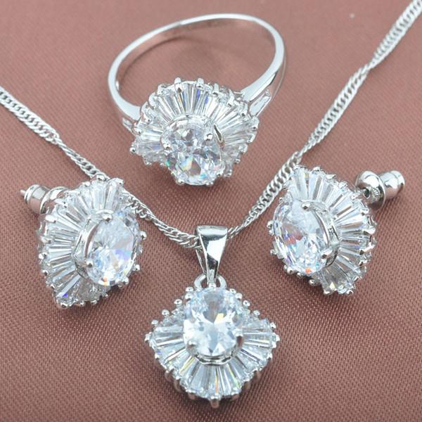 Сияющий белый кубический Циркон женщин 925 серебряные ювелирные наборы ожерелье серьги кольца Бесплатная доставка TS044