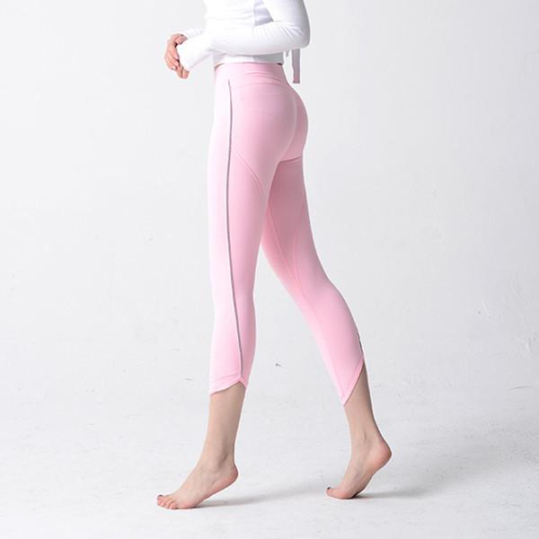Mulheres Apertadas Leggings Yoga Sexy Hip Up Calças Esportivas Sólidos Rosa Cinza Pilates Calf Calças de Treinamento Calças Femme de Fitness Ginásio Leggins