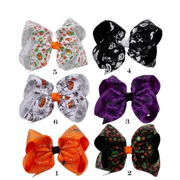 6 Inch Large Halloween Printed Hair Bows Bling Pumpkin Spider Web Hair Clips For Teens Girls Festival Knotted Hair Accessories