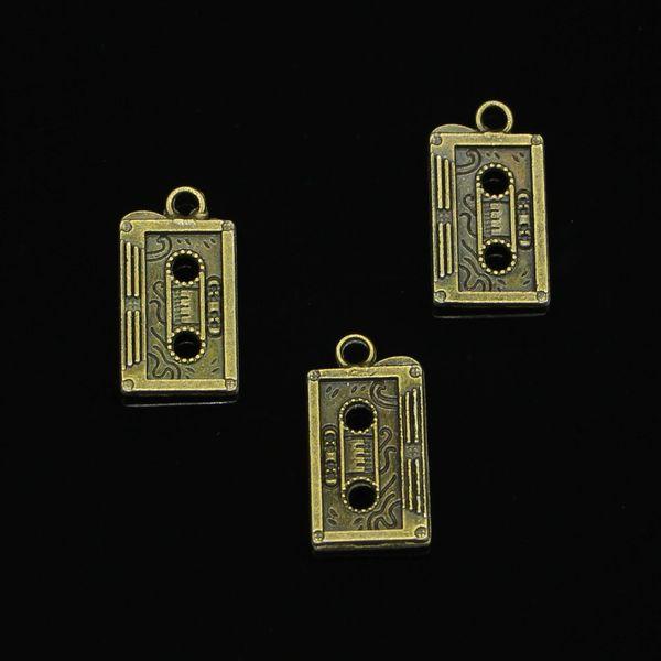 53 pz Charms In Lega di Zinco Bronzo Antico Placcato retrò anni '80 nastro a cassetta Charms per Monili Che Fanno DIY Handmade Pendenti 23 * 12mm