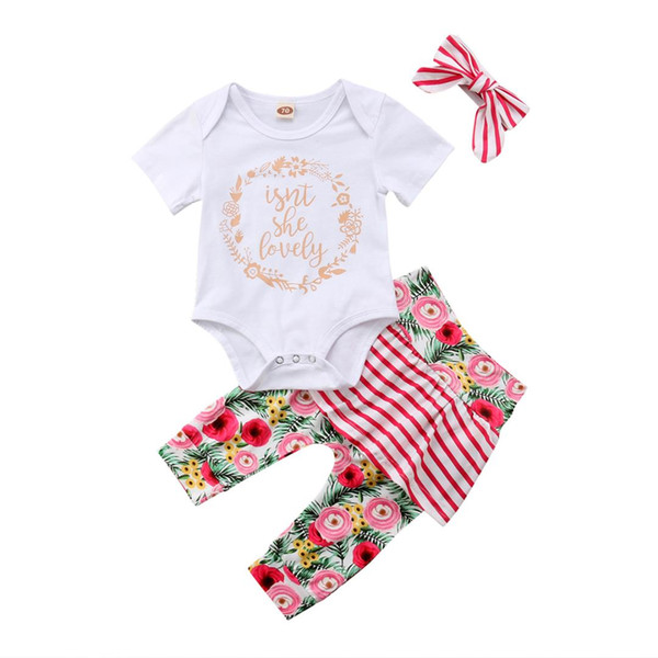 Newborn Toddler Baby Girl Stripe Floral Top Romper Skirt Dress Outfit Clothes