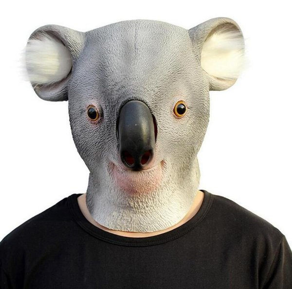 Latex Animal Party Mask Koala Full Face Adult Cosplay Mask Realistic Masquerade Fancy Dress For Party Masks Halloween 5pcs OOA4509