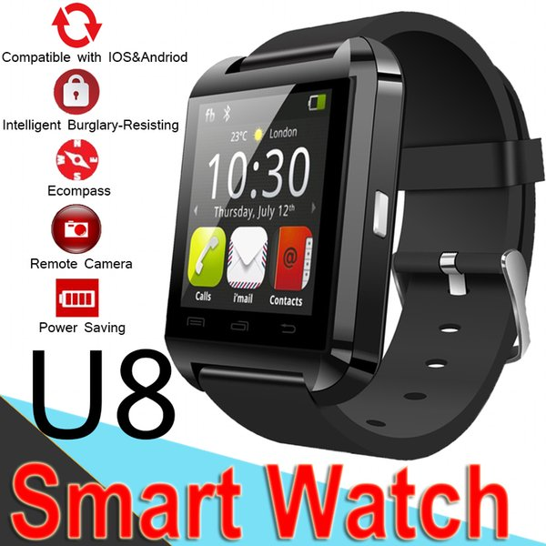 top popular Bluetooth U8 Smartwatch Wrist Watches Touch Screen For iPhone7 SamsungS8 Android Phone Sleeping Monitor SmartWatch with Retail Package XCTU8 2019