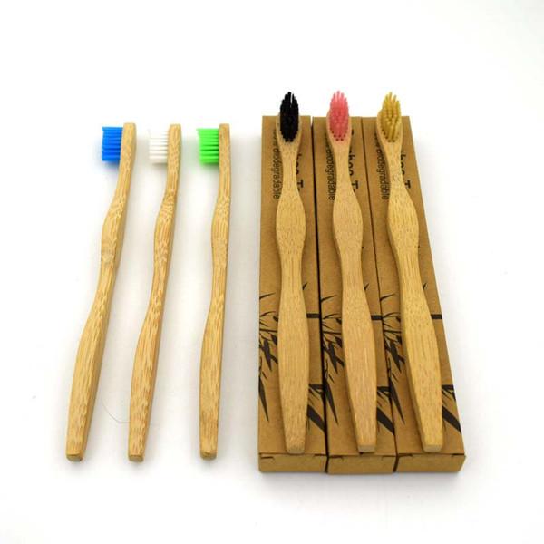 Diseño de onda Cepillo de dientes de madera Cepillos de dientes de bambú natural Cuidado bucal dental mango de madera dientes limpios apoyo envío de la gota