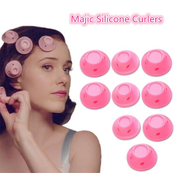 best selling Silicone Curlers 10Pcs set Hairstyle Soft Hair Care DIY Peco Roll Hair Style Roller Curler Salon Soft Silicone Pink Color Hair Roller 100