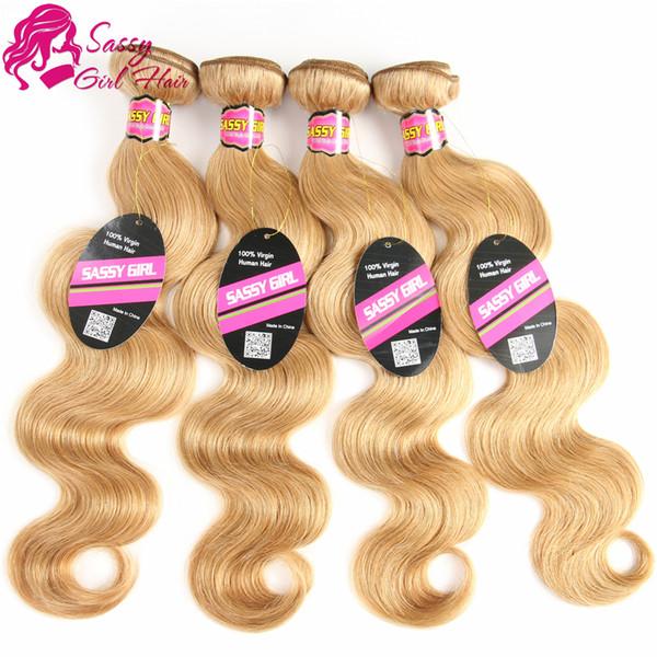 Honey Blonde Brazilian Hair Bundles Body Wave Weave 4Pcs 27 Color Blonde Human Hair Bundles Virgin Hair SASSY GIRL