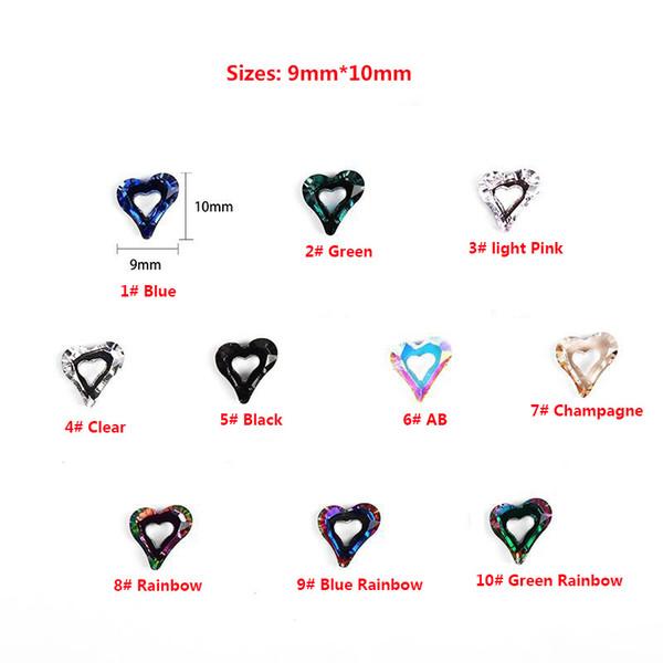 100 unids Colorido Corazón Rhinestones Valentine Crystal Nail Art Melocotón Brillo Piedra Diseño 3D Joya Joya Manicura Decoración