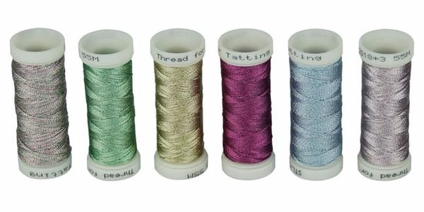 Dekoratif takı için 3-Ply Metalik tatting iplik dantel tasarım 6 farklı Renk 50 metre her Renk Seti 2