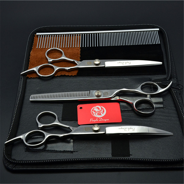 """4Pcs Suit 6"""" 17.5cm Purple Dragon Pets Hair Grooming Shears Steel Comb+Cutting+Thinning Scissor+Down Curved Shears Cat Hair Clipper Z3001"""