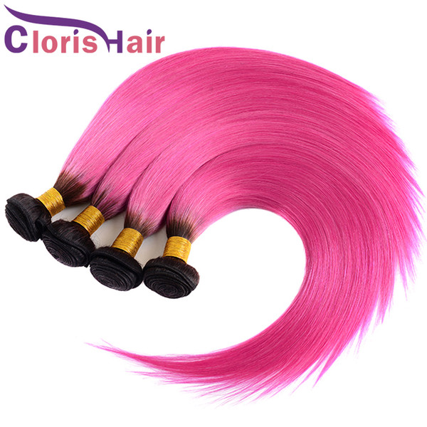 Color Rose Pink Ombre Straight Bundles Raw Virgin Indian Human Hair Weaves Cheap Two Tone Dye 1B Pink Ombre extensiones de cabello 3pcs