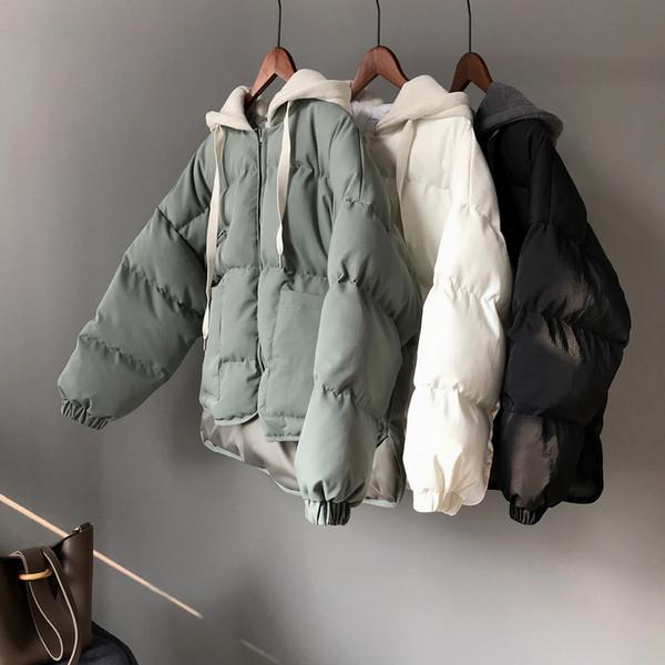 SWYIVY Womens Jacket Coat 숏 디자인 2018 겨울 새 두건을 한 여성면 패딩 된 Outwear 단색 짧은 재킷 빵 코트