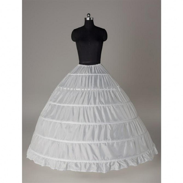 Top Quality 6 Hoops Petticoats for Ball Gown Quinceanera Dresses Bridal Wedding Underskirt Crinoline In Stock