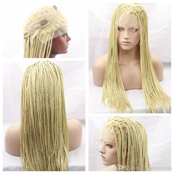 Top Sale 613# Blonde Braids Wigs with Baby Hair Braiding hair Heat Resistant Braided Glueless Synthetic Lace Front Wigs for Black Women