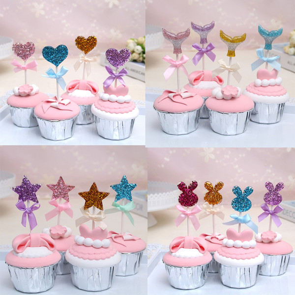 16pcs Glitter Heart Star Cake Topper Wedding Decoration Cupcake Toppers Bride Shower Anniversary Party Decorative Supplies