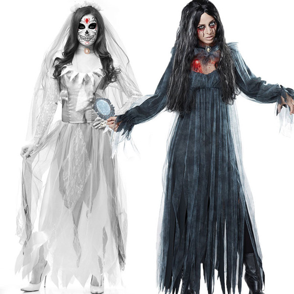 Ladies Halloween Gothic Horror Zombie Vampire Costume Black Gruesome Ghost Dress Scary Clothing For Female Women