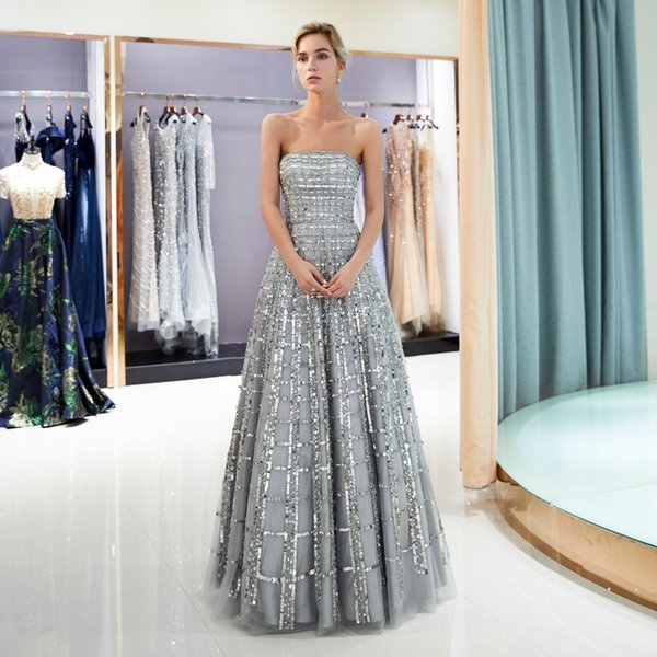 c40d577d4adb 2018 Silver Luxury Evening Dresses Strapless A-Line Prom Gowns Beaded Back  Zipper Sequined Custom