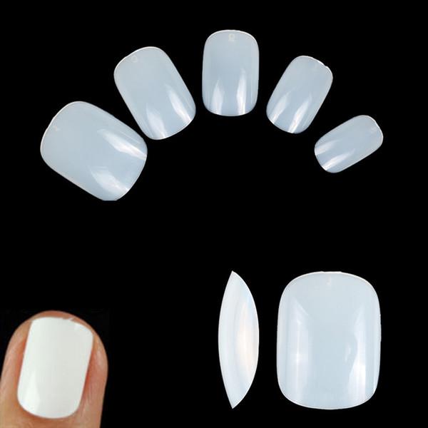 500cs / sac court faux ongles couverture complète forme carrée aspect naturel faux conseils gel nail art manucure salon d'approvisionnement