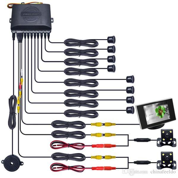 "LEEWA Car 8 Sensors/4-LED CCD Camera/3.5"" Monitor Front&Rear Dual View Parking Sensor Rear View System#4449"