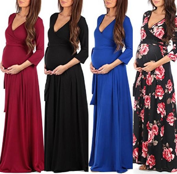2018 nouveau pas cher enceinte manches longues robe de soirée femmes longue robe de maternité robe été accessoires maxi tenue décontractée cocktail MC1695