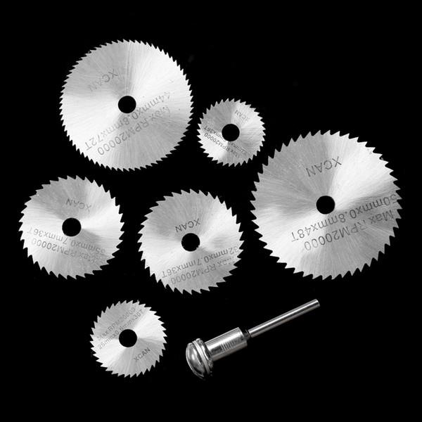 "7pcs mini Circular Saw Blades HSS Rotary Cutting Tools Kit multi tool dremel Accessories +1/8"" Shank for Cutting Timber Plastic"