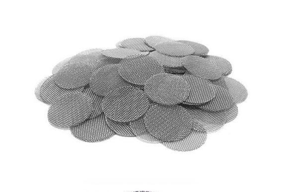 Pantalla de latón Accesorios para fumar Pantallas de acero inoxidable Pantallas de color plata 16 mm / 20 mm para malla de metal Herramientas de tubería de tabaco 1 UNIDS = 500 unids / BOLSA