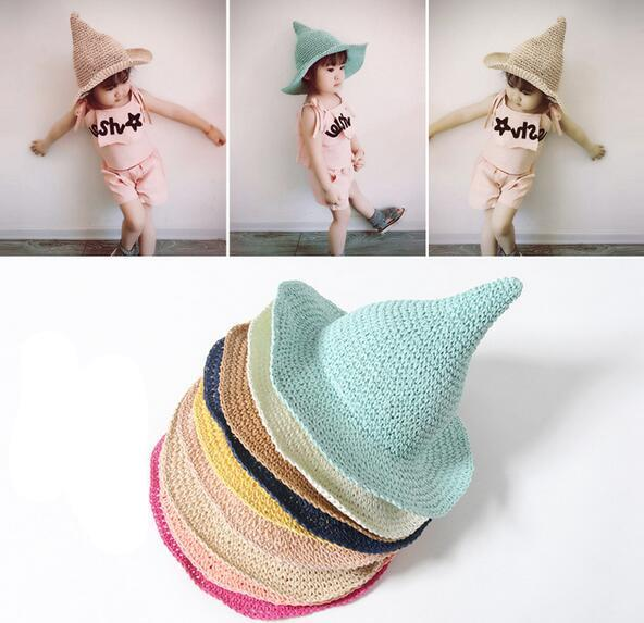 top popular 2018 Girls Straw Hat Children's Large Sun Hat Spring Baby Hand-woven Fashion Witch Spiky Hat 2019