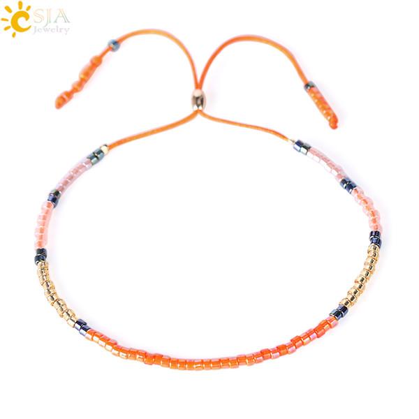 CSJA Cheap Wholesale Japan Glass Miyuki Seed Beads Strand Bracelet Orange Rope Lace Up Boho Summer Simple Handmade Female Lover Jewelry S041