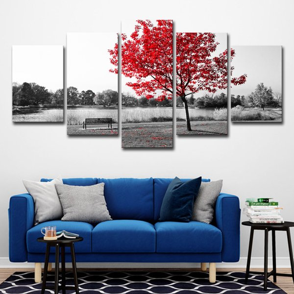 Canvas Paintings HD Prints Home Decor Wall Art 5 Pieces Red Tree Art Scenery Landscape Poster For Living Room Pictures