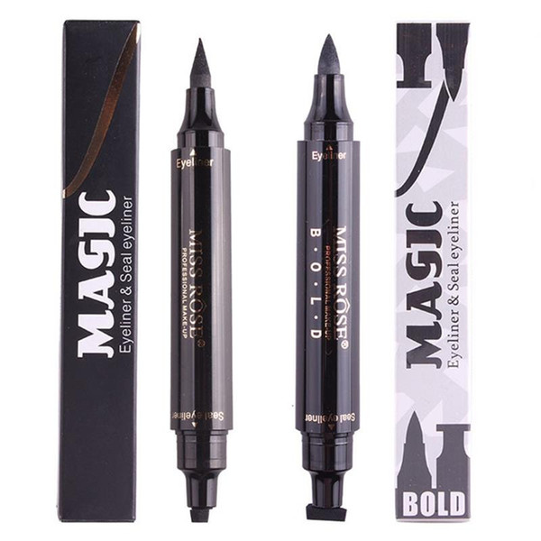 Hot makeup Miss Rose Stamp Eyeliner & Seal Pencil Professional Eye Makeup Tool Double Heads Two Heads Eyeliner Pen