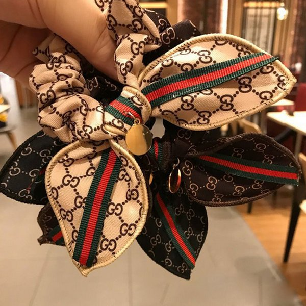 Cute Bownot Elastic Luxury Hair Rubber Band Letters Stripe Pony Tails Holder Fashion Hair Accessory Gift for Love Girlfriend