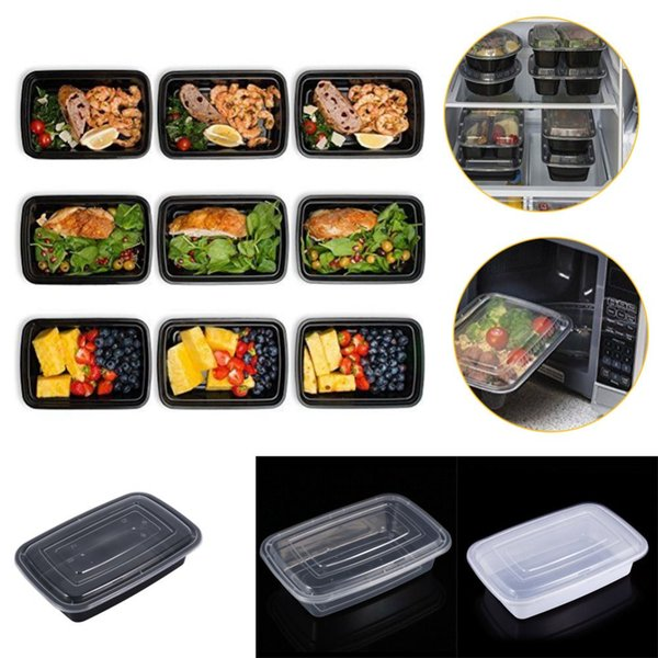 10Pcs Plastic Meal Prep Containers Microwavable Food Storage Boxs With Lid Bento Box Thermal Lunchbox High Quality