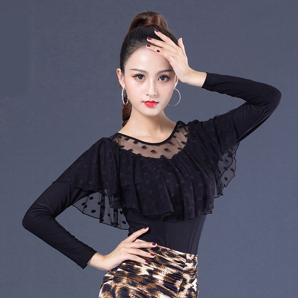73d15bfe061 Gauze ruffle Long sleeve modern sexy Latin dance clothes top for women  female girl