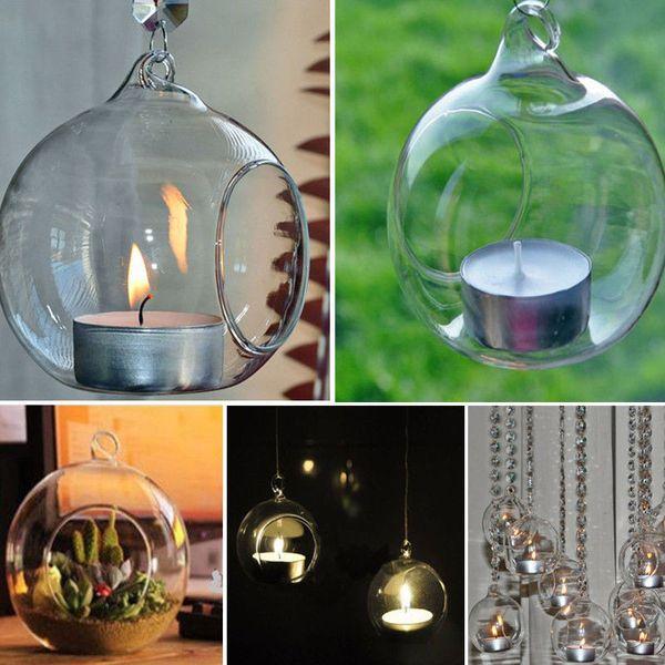 best selling 80MM Romantic Hanging Tealight Holder Glass Globes Terrarium Wedding Candle Holder Candlestick Vase Home Hotel Bar Decoration