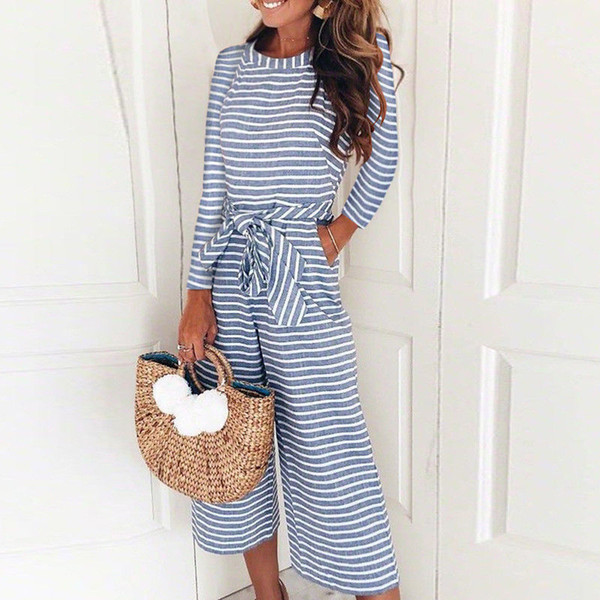 Women Jumpsuits Summer Striped Wide Leg Holiday Babdage Jumpsuit Playsuit Long Sleeve Casual Leotard
