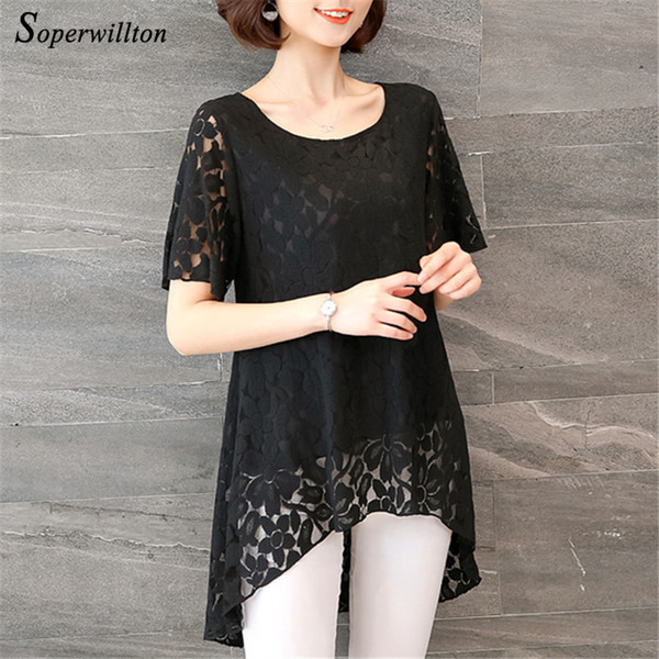Plus Size XL-5XL Women Clothing New Summer Long Blouses Casual Lace Short Sleeve Blouses Shirt For Women Lady asymmetry Clothes