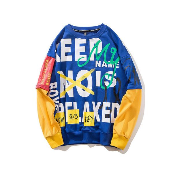 Cartas Graffiti Impreso Pullover Hoodies Streetwear 2019 Mens Hip Hop Color Block Patchwork Sudaderas Moda Hoodie